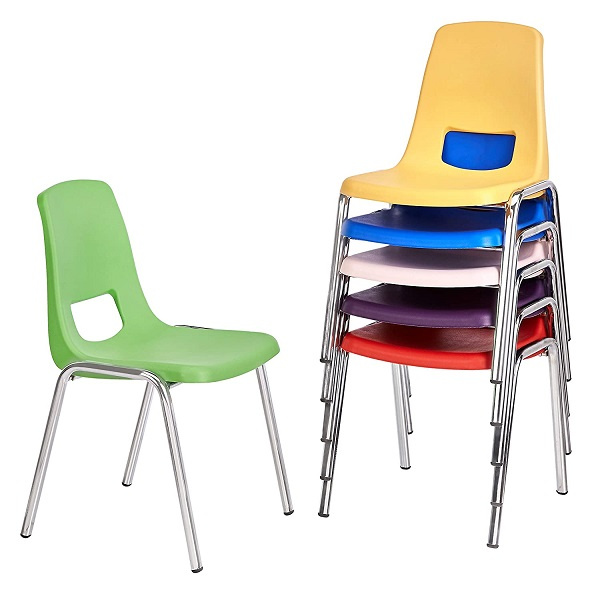 Assorted Colors 6-Pack 16 School Stack Chair,/Stacking Student Chairs with Chromed Steel Legs and Nylon Swivel Glides