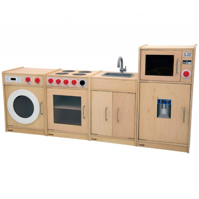 Wooden 5 in 1 Toddler Natural Play Kitchen