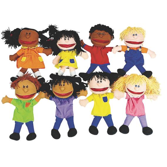 Happy Kids Plush Hand Puppets Ethnic Set Of 8