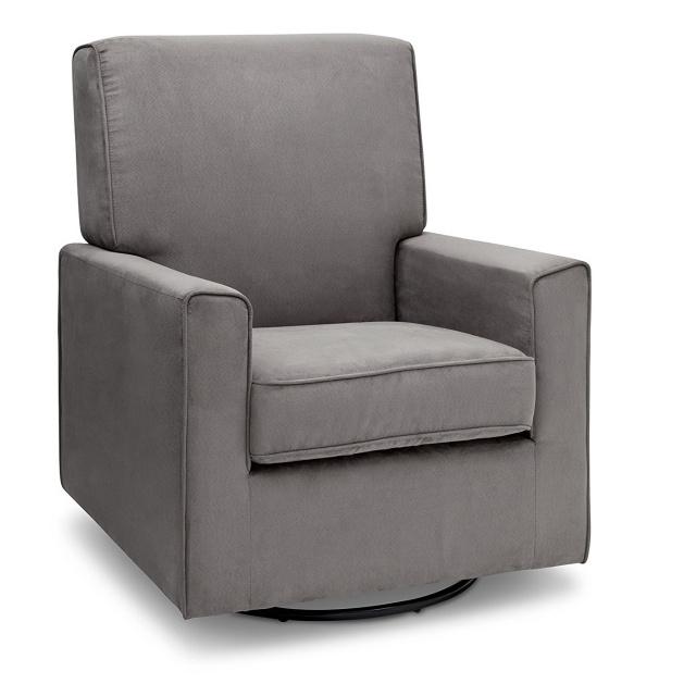 Ava Upholstered Glider Swivel Rocker Chair Graphite