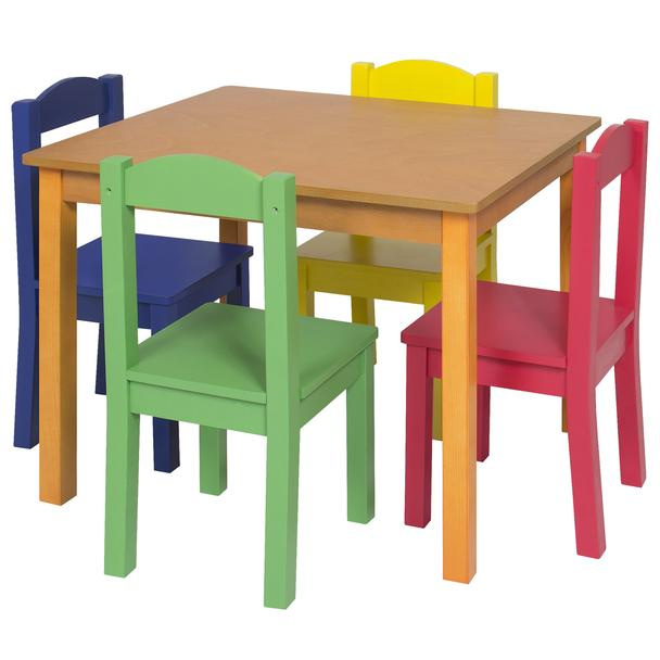 BC Kids Wooden Table   4 Chair Set   Primary. Wood Tables and wooden chair at Daycare Furniture Direct  Wooden