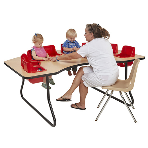 8 Seat Interactive Toddler Feeding Table   Maple Top