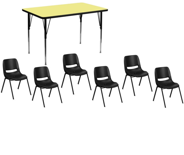 30''W X 48''L RECTANGULAR ACTIVITY TABLE WITH 6 14 inch chairs set