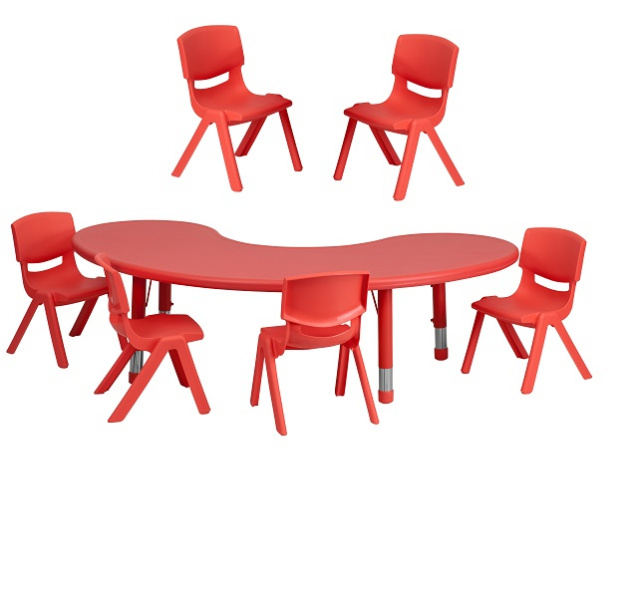 FF Half-moon 35 x 65 Table & 6 Chair Set - Red