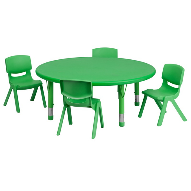 45'' ROUND ADJUSTABLE green PLASTIC ACTIVITY TABLE SET WITH 4 SCHOOL STACK CHAIRS 10.5
