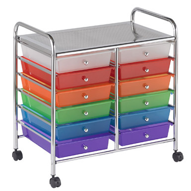 elr0261as 12 drawer mobile organizer assorted
