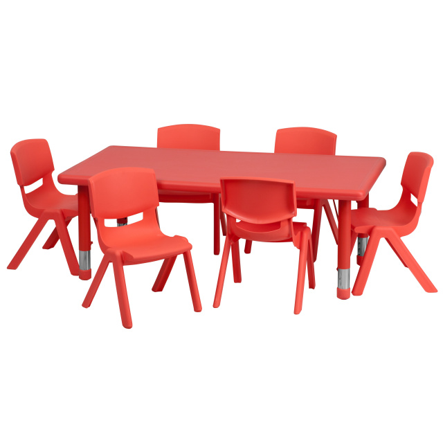 FF 24 x 48 Resin Table w/ 6 Chairs 13.5\  Red  sc 1 st  Daycare Furniture Direct : daycare tables and chair set - pezcame.com