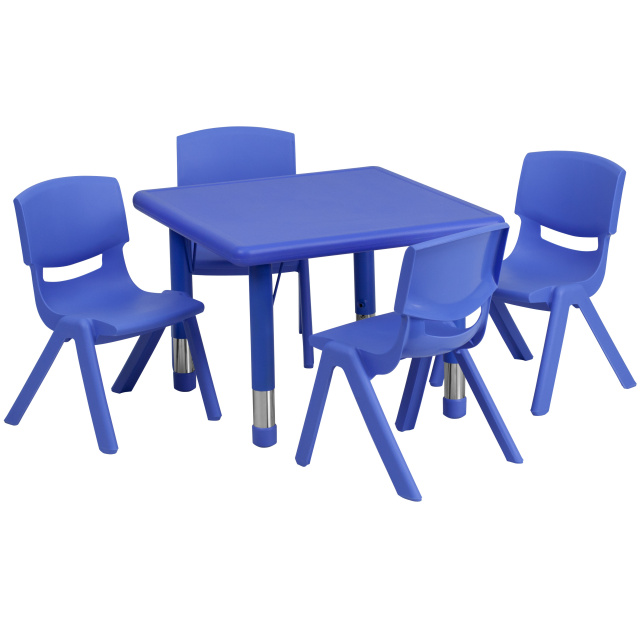 Ff Square 24 Resin Table 4 Chair 10 5 Blue