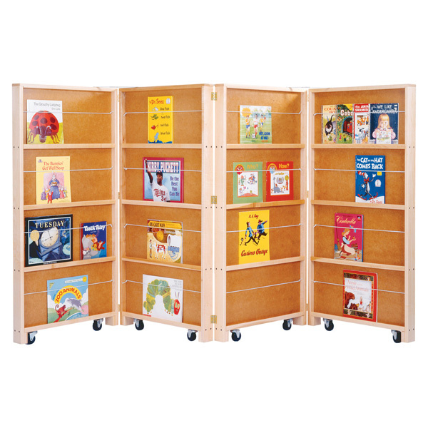 0267jc Jonti Craft Mobile Library Bookcase 4 Sections