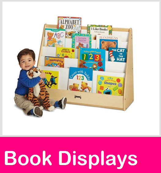 Book displays, daycare book shelves, preschoo book display,  school book storage cases