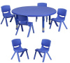 "FF Round 45"" Activity Table & 6 Chairs 12"" Blue"