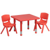 "FF Square 24"" Resin Table & 2 Chair 10.5"" Red"