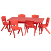 "FF 24 x 48 Resin Table w/ 6 Chairs 12"" Red"