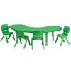 "FF Half-moon 65"" Table & 4 Chair 10.5"" Green"