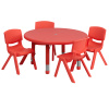 "FF Round 33"" Activity Table & 4 Chair 10.5"" Red"