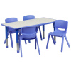 "FF 24 x 48 Resin Table with 4 - Chairs 10.5""  Blue w/ Gray Top"