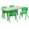 "FF 24 x 48 Resin Table with 4 - Chairs 10.5"" Green w/ Gray Top"