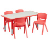 "FF 24 x 48 Resin Table with 4 - Chairs 10.5"" Red w/ Gray Top"