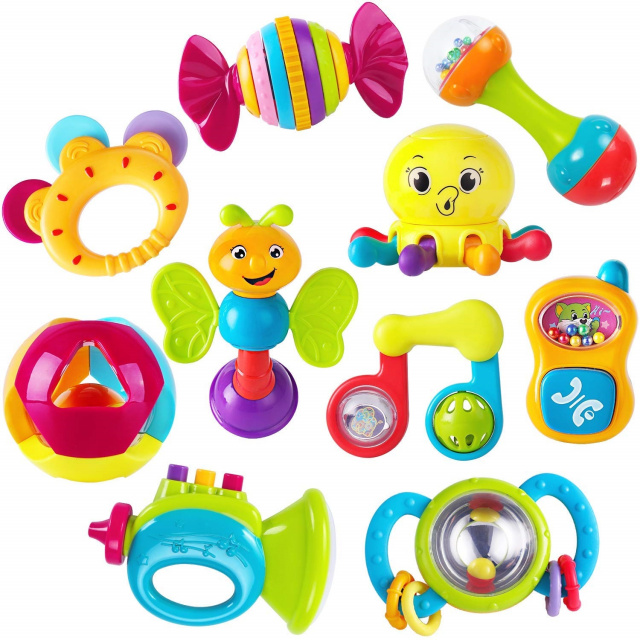 10 pcs Baby Rattles Teether, Shaker, Grab and Spin Rattle, Musical Toy Set