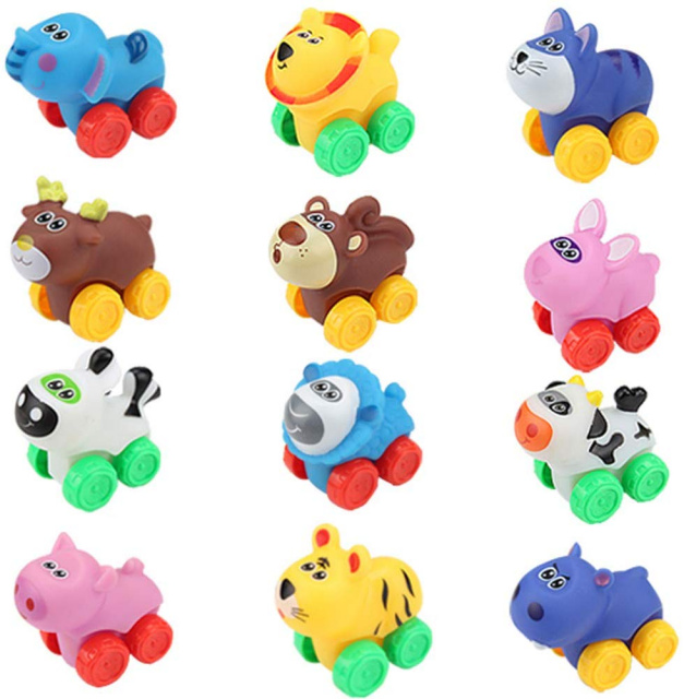 Soft Animal Vehicles Push and Go Toys - 12 Pack