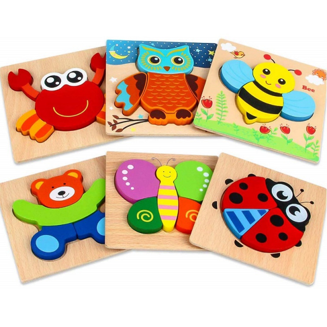 Wooden Jigsaw Toddler Puzzles - 6 Pack