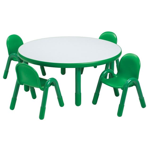 BaseLine Preschool 36? Diameter Round Table & Chair Set Shamrock Green