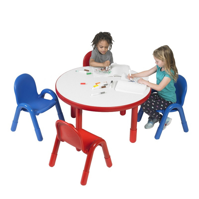 BaseLine Preschool 36 Diameter Round Table & Chair Set Candy Apple Red