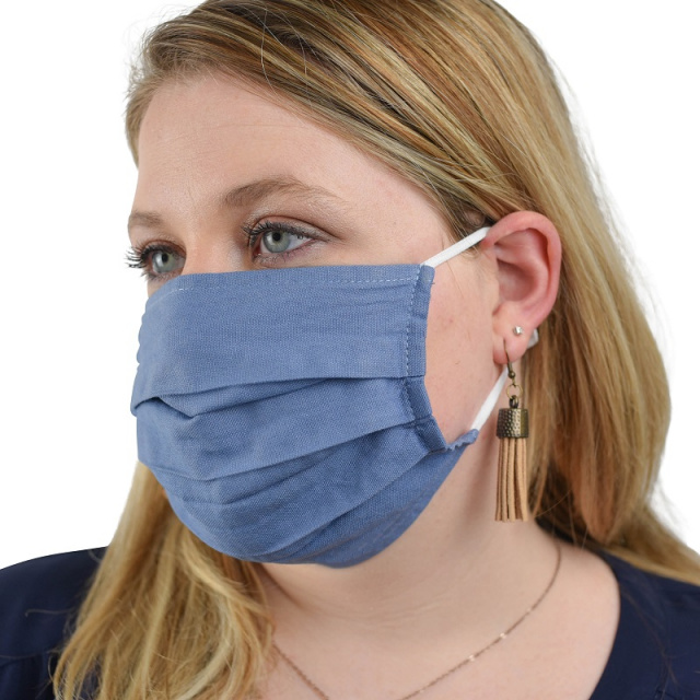 CF09-20 Adult Cotton Face Covering Mask with Ear Loops - 20 Pack