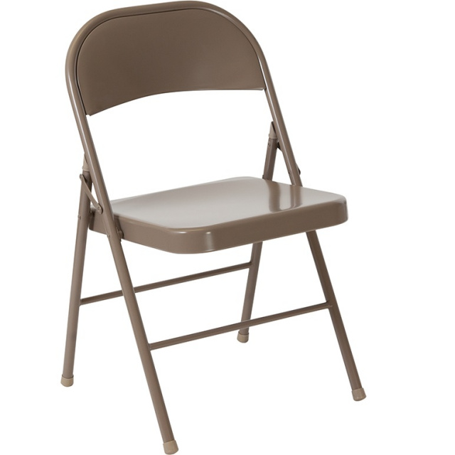 Double Braced Metal Folding Chairs Beige - 6 Pack