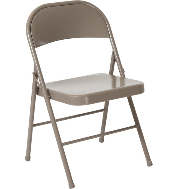 Double Braced Metal Folding Chairs Grey - 6 Pack