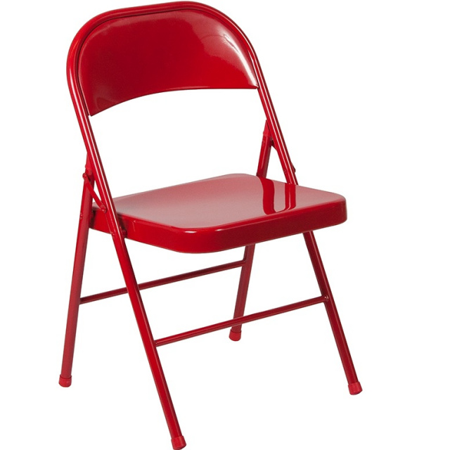 Double Braced Metal Folding Chairs Red - 6 Pack