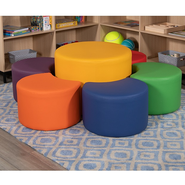 "FF Soft Seating Collaborative 24"" Yellow Round with 6 Moon Seats"