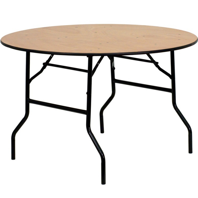 "FF Wood Folding Banquet Table 48"" Round"