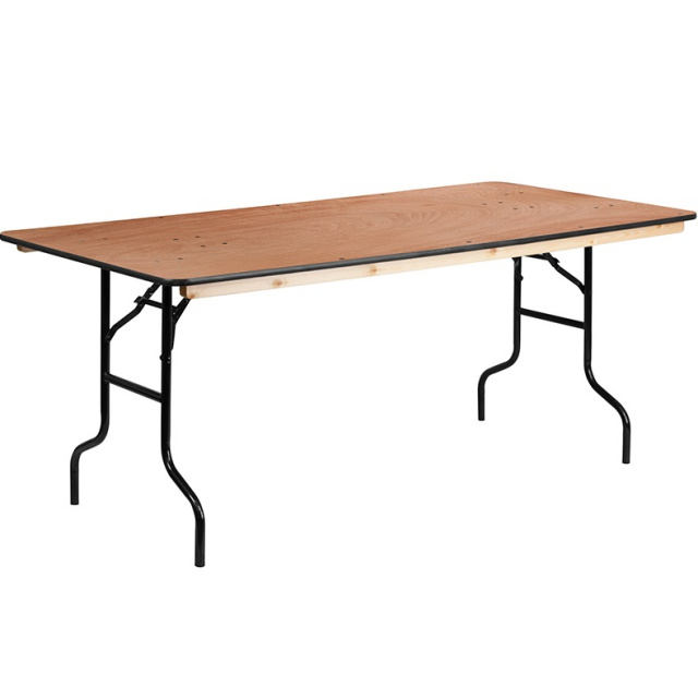 FF Wood Folding Banquet Table 6 Ft