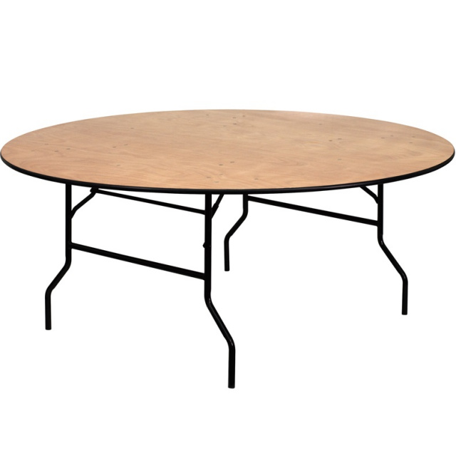 "FF Wood Folding Banquet Table 72"" Round"