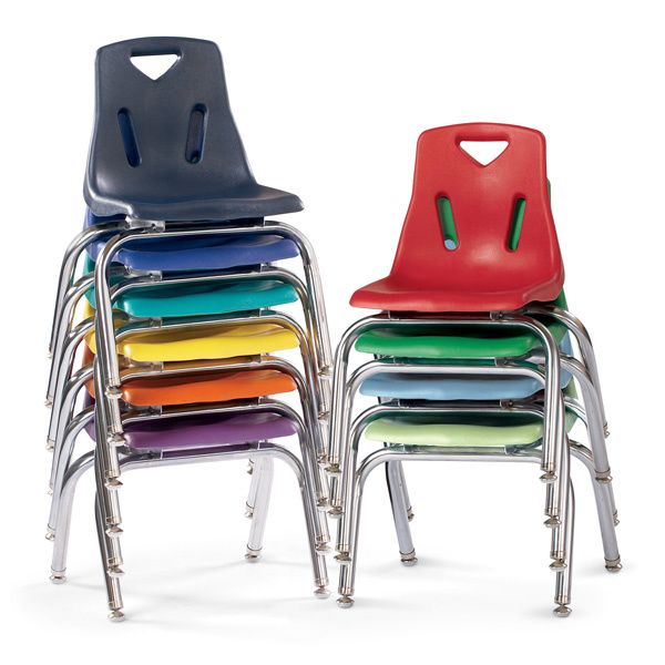 "8140JC6 Berries 10"" Stacking Chairs w/ Chrome-Plate Leg - 6 Pack"