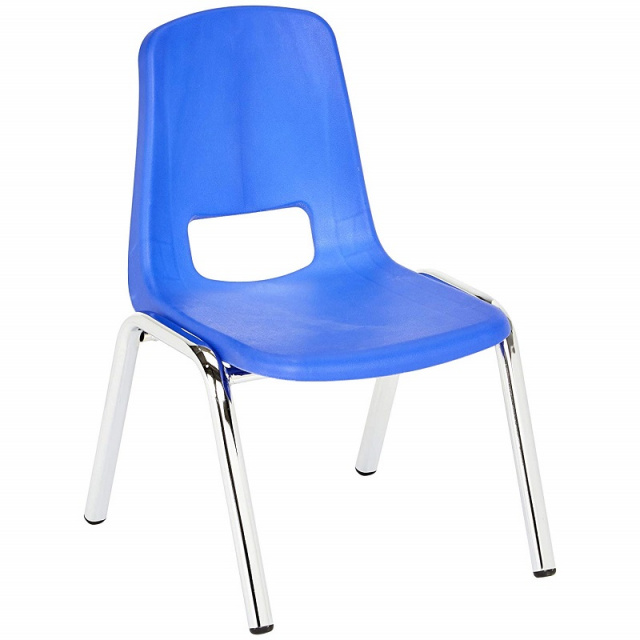 "Basic Blue 10"" School Stack Chair Chrome Legs - 6 Pack"