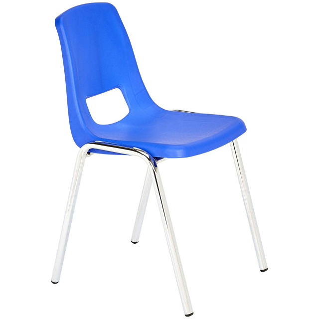 "Basic Blue 16"" School Stack Chair Chrome Legs - 6 Pack"