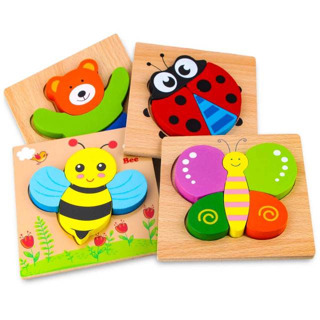 Wooden Jigsaw Puzzles for Toddlers - Animals & Insects