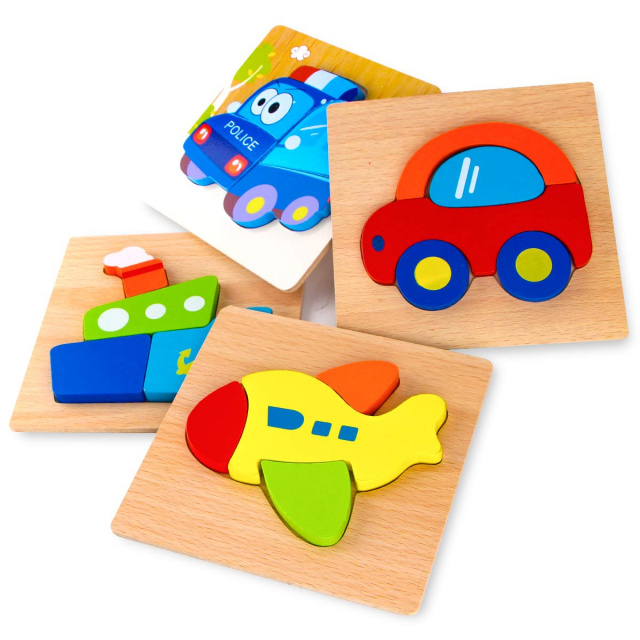 Wooden Jigsaw Puzzles for Toddlers - Vehicles