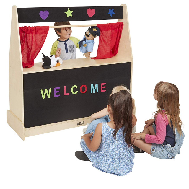 Activity Birch Hardwood Play Puppet Theater with Flannel ELR-0693