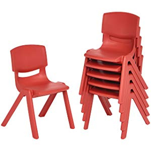 "12"" School Stack Resin Chair - 6 Pack - Red"