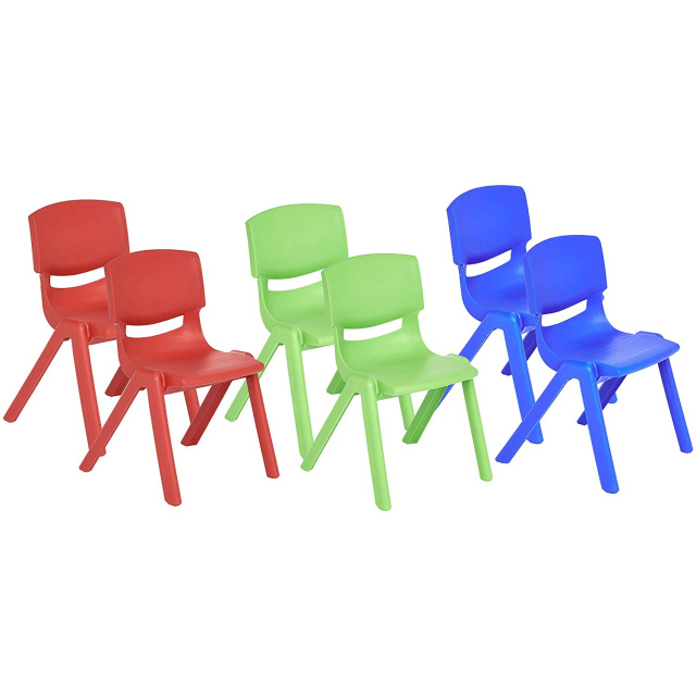 "12"" School Stack Resin Chair - 6 Pack - Assorted"