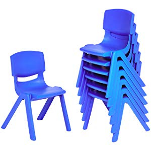"12"" School Stack Resin Chair - 6 Pack - Blue"