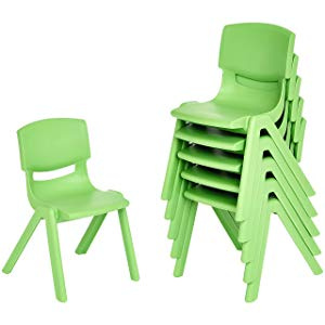 "12"" School Stack Resin Chair - 6 Pack - Green"