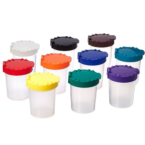 AM-281269 Sargent Art No-Spill Paint Cups with Lids - 10 Pack