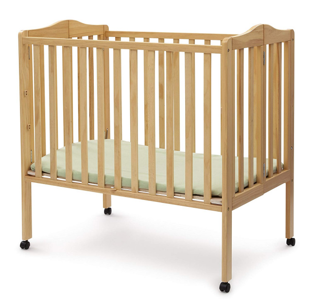 Delta Folding Portable Mini Baby Crib with Mattress, Natural