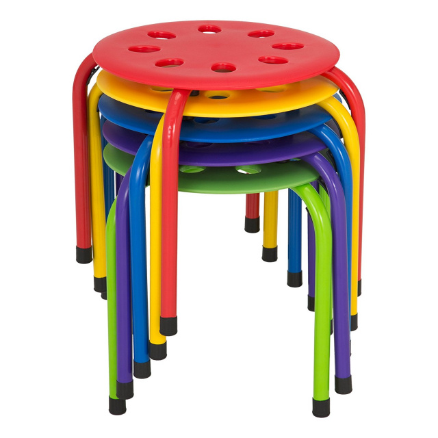 "Plastic Stack Stools 12"" Height set of 5"