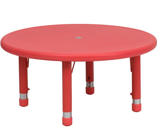 33'' ROUND HEIGHT ADJUSTABLE redPLASTIC ACTIVITY TABLE