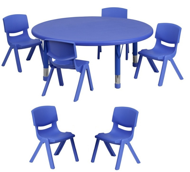 45'' ROUND ADJUSTABLE BLUE PLASTIC ACTIVITY TABLE SET WITH 6 SCHOOL STACK CHAIRS 10.5
